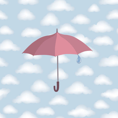 torrential rain: Umbrella over cloudy sky. Clouds seamless pattern Autumn weather background