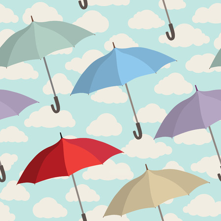 rainy sky: Umbrella seamless pattern. Cloudy sky tiling pattern. Rainy autumn concept background Illustration