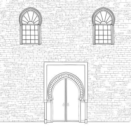 facade: Door way background in moslem style. Front door oriental house facade. Encient arabic building  facade. Vintage  islamic architectural background
