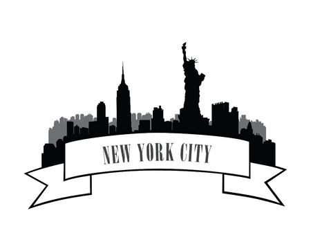 new york skyline: New York, USA skyline sketch. NYC city silhouette with Liberty monument. City silhouette Skyline. Panorama city emblem. Skyline urban label