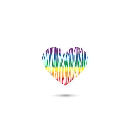 sexualidad: Love heart card  in lgbt colors. Pencil draweing sketch heart icon isolated over white background