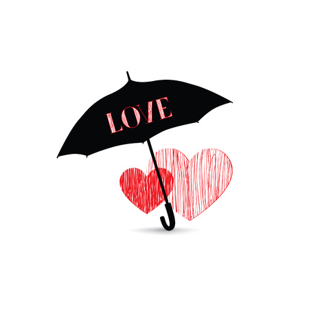 cloudburst: Love heart sign over umbrella protection. Two hearts in love icon isolated over white background. Valentines day greeting card design