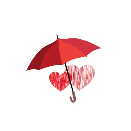 Muestra del amor del corazón sobre la protección de paraguas. Dos corazones en icono del amor aislados sobre fondo blanco. diseño de la tarjeta de felicitación del día de San Valentín