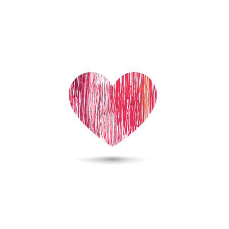 heart sketch: Love heart card. Pencil drawing sketch heart icon isolated over white background
