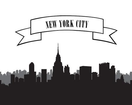 New York Skyline. Vector USA landscape. Cityscape with skyscrapers. City silhouette vector set. Panorama city background. Skyline urban border.