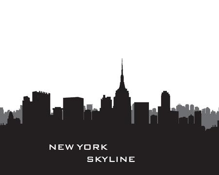 Horizonte de Nueva York. Vector EE.UU. paisaje. Paisaje urbano con rascacielos. silueta de la ciudad. Fondo del panorama de la ciudad. Skyline borde urbano.