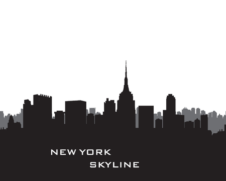 new york at night: New York Skyline. Vector USA landscape. Cityscape with skyscrapers. City silhouette. Panorama city background. Skyline urban border. Illustration