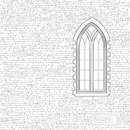 chipped: Ancient brick wall background with gothic window. Shabby brick wall sketch pattern Architectural building facade