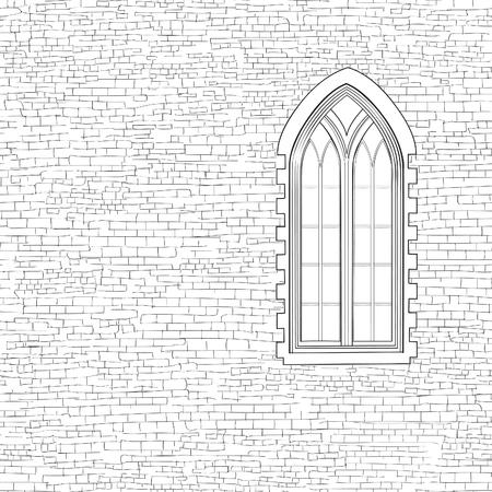Oude bakstenen muur achtergrond met gotische venster. Shabby bakstenen muur schets patroon Architectonisch gebouw gevel