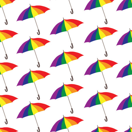 colores: Umbrella pattern. Rainbow colored parasol seamless ornament. Lgbt community background