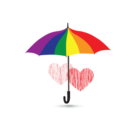 rainbow umbrella: Love heart sign over rainbow colored umbrella. Two hearts in love icon isolated over white background