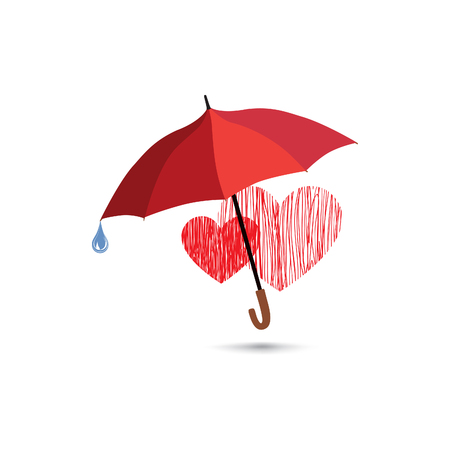 love in rain: Love heart sign over rain under umbrella protection. Two hearts in love icon isolated over white background. Valentines day greeting card design