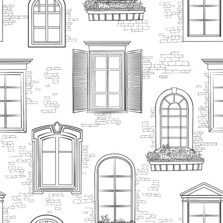 antic: Window pattern. Different architectural style of windows doodle sketch seamless ornamental background Illustration