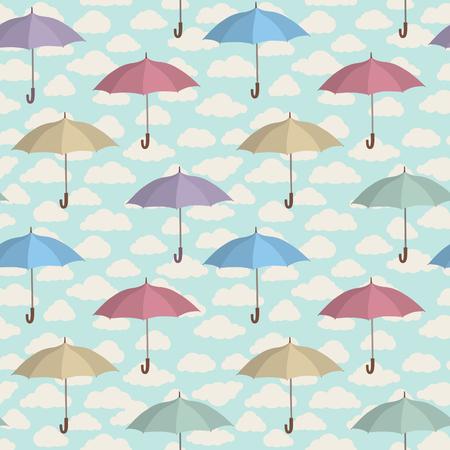 seamless parapluie. Nuageux modèle de carrelage ciel. fond d'ornement temps pluvieux