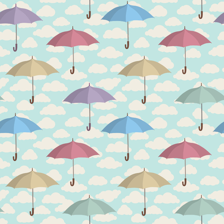 Umbrella seamless pattern. Cloudy sky tiling pattern. Rainy weather ornamental background