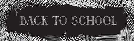 arrière plan noir et blanc: Back to school. Chalkboard horizontal background. Hand drawn message written over blackboard. Vector. Illustration
