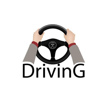 drive car: Drive a car sign. Diver design element with hands holding steering wheel. Vector icon.