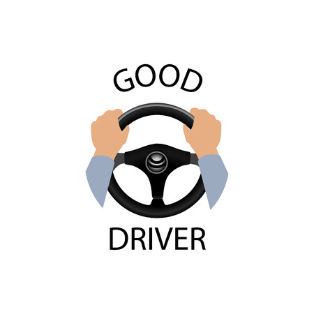 steering: Good driver sign. Diver design element with hands holding steering wheel. Vector icon. Illustration