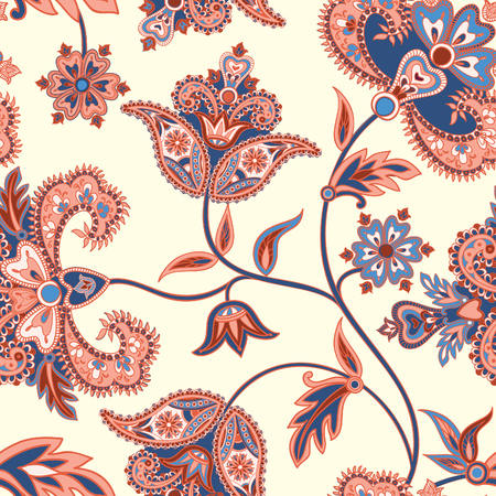 Floral  pattern. Flourish retro background. Branch with fantastic flowers, leaves and berries. Wonderland motives of the paintings of ancient Indian fabric patterns.