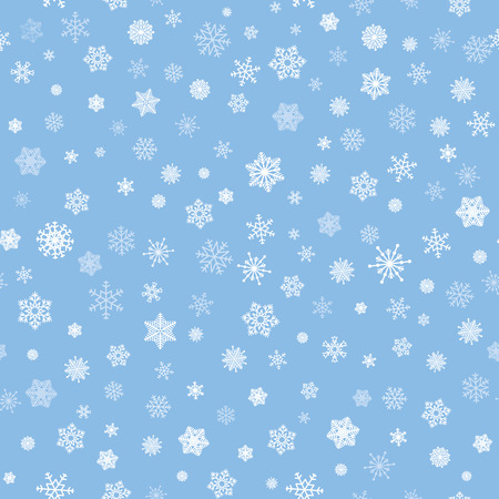Snow seamless pattern. White snow falling on ble background gentle tiled  pattern. Christmas ornament.