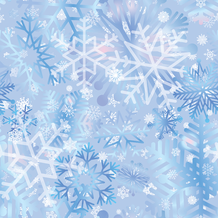 ble: Snow tiled pattern. Snowflakes textured background. White snow falling on ble background gentle seamless pattern. Christmas ornament.