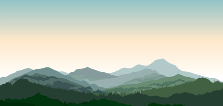 Landscape with mountains. Nature background. Hills of coniferous wood in dark green vector illustration