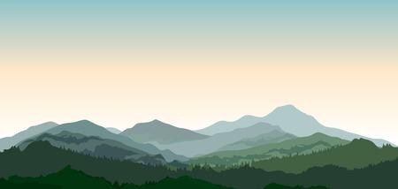 Paisaje con montañas. La naturaleza de fondo. Colinas de madera de coníferas en la ilustración vectorial de color verde oscuro