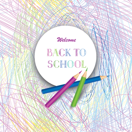 Bienvenido de nuevo a la escuela de diseño de carteles. Dibujado a mano Volver a la Escuela de texto sobre el marco con lápices de colores. niño de preescolar Bakcground laboratorio