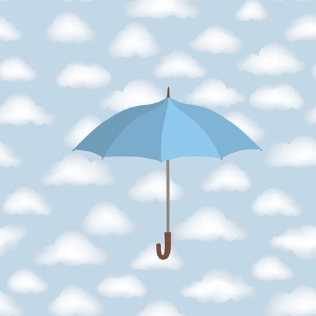 dreary: Umbrella over cloudy sky background. Clouds Seamless Pattern. Weather wallpaper