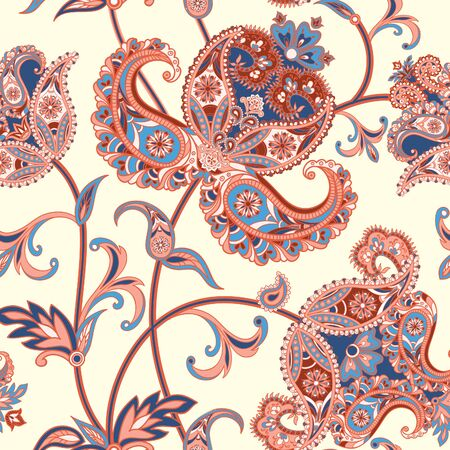 Floral tiled pattern. Flourish retro background. Curved tree branch with fantastic flowers, leaves and berries. Wonderland motives of the paintings of ancient Indian fabric patterns.