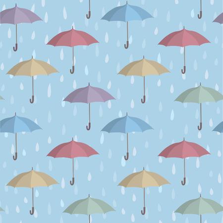 dreary: Umbrella over raindrop background. Rainstorm Seamless Pattern. Rainy weather ornament. Water drops tiled wallpaper Illustration