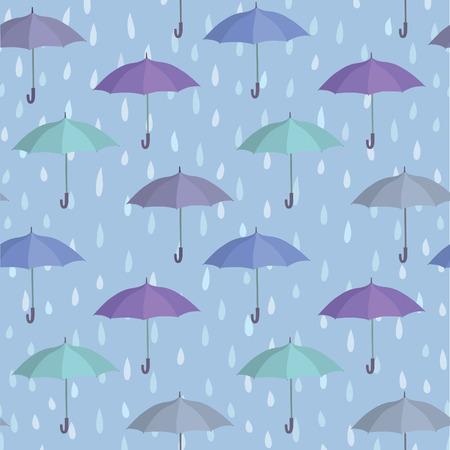rainstorm: Umbrella over raindrop background. Rainstorm Seamless Pattern. Rainy weather ornament. Water drops tiled wallpaper Illustration