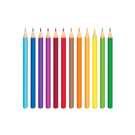 co lour: Colored pencils, isolated over white background. Vector colour pencil set.