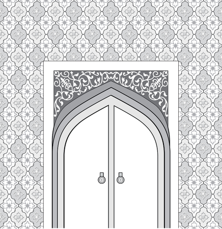 stone arch: Doorway in arabic architectural style. Arch of patterned stone with closed  door.  Islamic design mosque door for greeting background. Oriental seamless ornament. Editable vector Illustration
