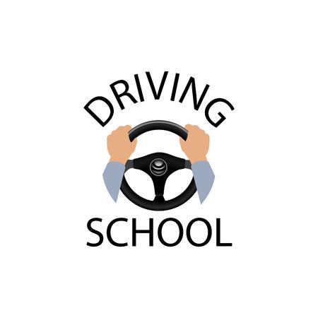 Fahrschule Zeichen. Taucher-Design-Element mit den Händen halten Lenkrad. Vector-Symbol.