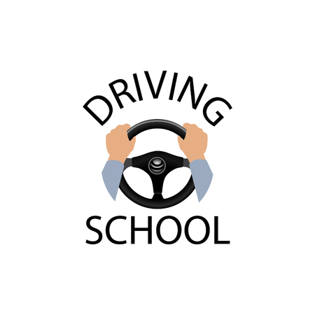 Driving school sign. Diver design element with hands holding steering wheel. Vector icon. Illustration