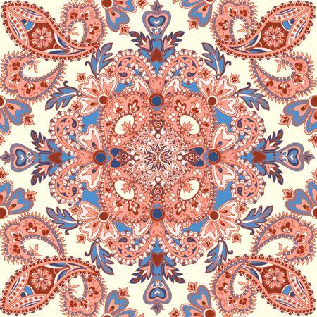 Floral tiled pattern. Flourish orienatal background. geometric flower mandala asian ornament. Wonderland motives of the paintings of ancient Indian fabric patterns.