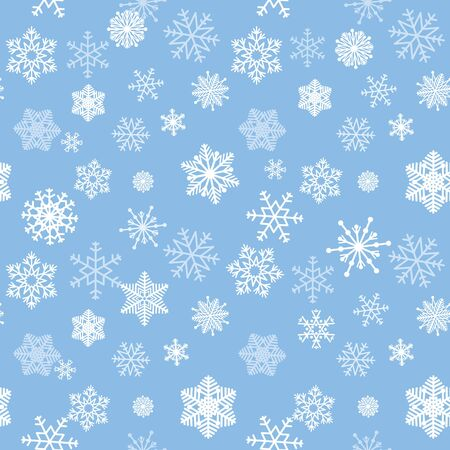 ble: Snow seamless pattern. White snow falling on ble background gentle tiled  pattern. Christmas ornament.