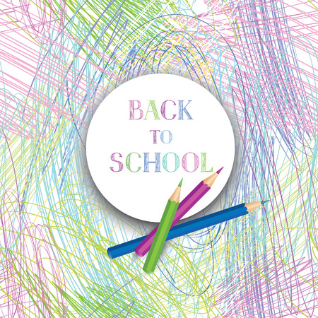 color pencil: Back to school. Banners with school supplies over kids color pencil drawing background. Vector.