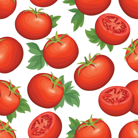 carotene: Tomato over white background. Vegetable seamless pattern. Autumn harvest tiled agriculture ornamental wallpaper. Illustration