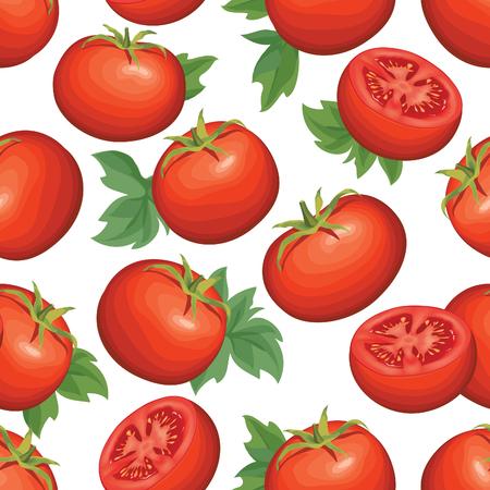 agriculture wallpaper: Tomato over white background. Vegetable seamless pattern. Autumn harvest tiled agriculture ornamental wallpaper. Illustration