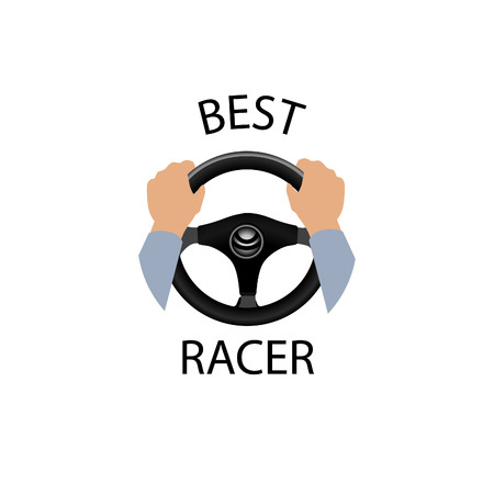 hands holding sign: Drive a car sign. Best racer banner. Diver design element with hands holding steering wheel. Vector icon. Illustration