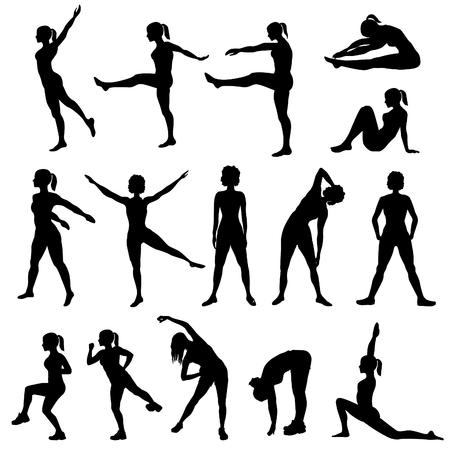 fitness woman: Elegant women silhouettes doing fitness exercises. Fitness club icon set, fitness exercises concept. Girls gym training vector illustration isolated on white background