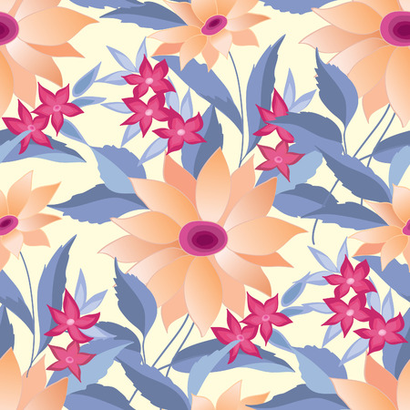 flower blooming: Flower bouquet seamless pattern. Summer flourish ornamental texture. Blooming flowers  posy background