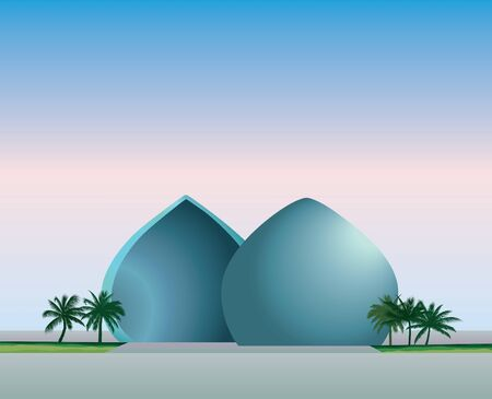Cityscape of Baghdad, capital of Iraq. Travel famous places in Western Asia city. Al-Shaheed monument view. Vector illustration
