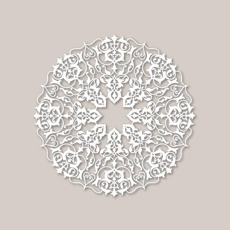 arabesco: ornamentales ronda estampado de flores. Mandala de la flor ornamento blanco