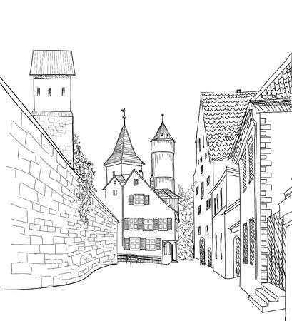 Calle en la ciudad vieja. Paisaje urbano - casas, edificios y árboles en callejón. Vista antigua de la ciudad. Castillo medieval paisaje europeo. Grabado dibujo vectorial