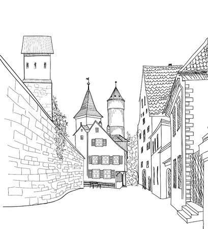 Street in old city. Cityscape - houses, buildings and tree on alleyway. Old city view. Medieval european castle landscape. Engraving vector sketch Illusztráció