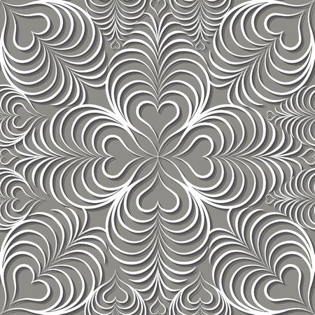 Abstract seamless pattern Floral ligne ornement en forme de coeur géométrique arabique. Élégant abstrait ornement dentelle fond