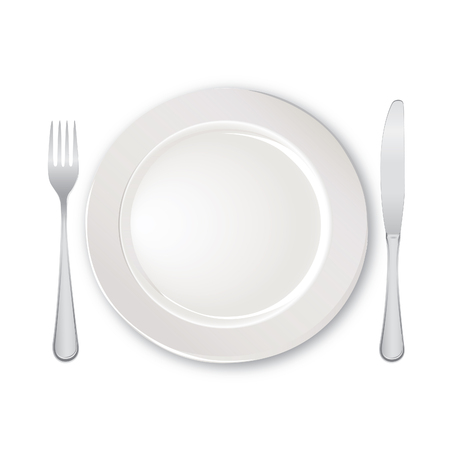 banquet table: Table setting set. Fork, Knife, Spoon, Empty Plate set. Cutlery white collection. Catering vector illustration. Restaurant service. Banquet still life
